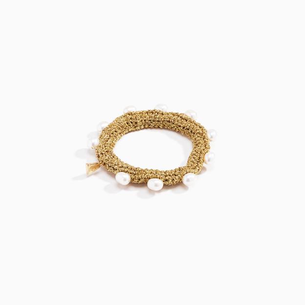 Lucy Folk Gold Pearl Diver Bracelet